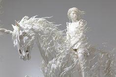 "Japanese artist Motohiko Odani makes gloriously fluid sculptures. This unicorn sculpture lies at the center of an exhibit of his work called ""Phantom Limb"" at The Mori Art Museum in Tokyo. Label Art, Contemporary Sculpture, Equine Art, Japanese Artists, Horse Art, Art Plastique, Zebras, Oeuvre D'art, Art Museum"