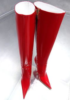 HOHE LEDER STIEFEL ROT LACK SCHUHE 1969 ITALY Z22 BOOTS LEATHER HIGH HEELS 35-44