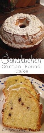 Great authentic German pound cake made with cornstarch and butter. Sandkuchen - German Pound Cake from One Acre Vintage Homestead. German Desserts, Just Desserts, Delicious Desserts, Dessert Recipes, German Recipes, Austrian Recipes, German Pound Cake Recipe, Pound Cake Recipes, Pound Cakes