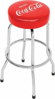 """Enjoy Coca Cola Single Ring Non-Swivel Standard Barstool by On The Edge. $73.99. Made from chrome plated tubular steel frame. Features non-skid foot pads. Adds quality, style, and comfort. 5"""" Thick Foam Non-Swivel. Extremely durable and easily fits any place. On The Edge Enjoy Coca Cola Single Ring Non-Swivel Standard Barstool is designed to jazz up the game room or garage with quality, style and comfort. It is made from tubular steel frame and features non-skid foot pad..."""