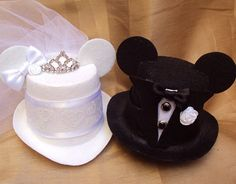 Mouse Ears Bridal Mini Top Hat Fascinator with Veil by hatandmouse, $38.99