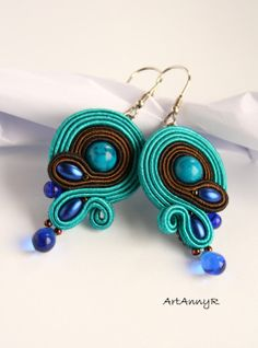 Soutache Earrings/Ohrringe Türkis von ArtAnnyR