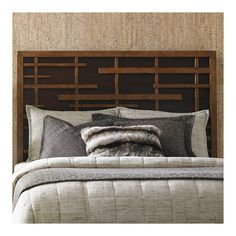 Tommy Bahama Home An Asian fretwork design on the headboard is contrasted by a dark walnut back panel. A metal bed frame is required to complete the bed. Upholstered Panels, Furniture, Dresser With Mirror, King Size Headboard, Metal Bed Frame, Tommy Bahama Home, Slatted Headboard, Headboard, Panel Headboard