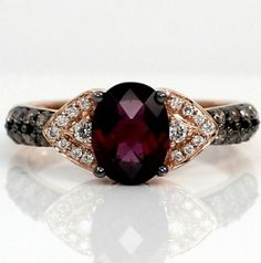LeVian 14k Rose Gold Rhodolite Garnet Chocolate White Diamond Ring Size 9 | eBay