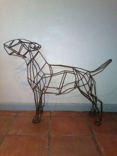 6mm mild steel bar Dog sculpture by artist Emma Walker titled: 'bull terrier dog' £667 #sculpture #art