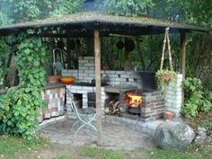 Ooooh, looks simple enough, lol Small Outdoor Kitchens, Outdoor Kitchen Bars, Outdoor Spaces, Outdoor Living, Outdoor Decor, Scandinavian Cottage, Outdoor Buildings, Diy Furniture Hacks, Lean To