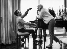 Peter Sellers, who was nominated three times. Pictured playing the piano at home with his wife, Britt Ekland, in Beverly Hill