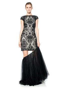 Convertible Embroidered Tulle Cap Sleeve Gown - PLUS SIZE   Tadashi Shoji
