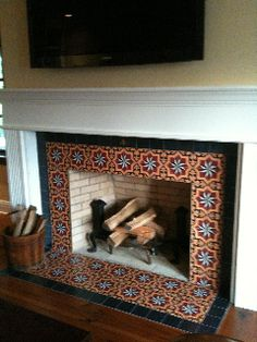 fireplace and hearth using mexican tiles by Fireplace Screens and Accessories Raised Hearth Fireplaces 42