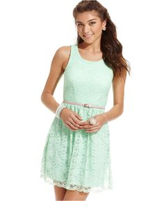 City Studios Juniors Dress, Sleeveless Belted Lace - Juniors Dresses - Macys
