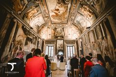 Beautiful castle's interior with frescos and spectacular view for Carre and Joe's ceremony outside Rome. www.weddingsinrome.com