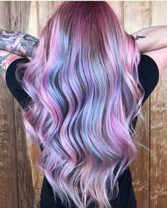 Hairdye by Pulp Riot Beauty: Fantasy Unicorn Purple Violet Red Cherry Pink yellow Bright Hair Colour Color Coloured Colored Fire Style curls haircut lilac lavender short long mermaid blue green teal orange hippy boho ombré woman lady pretty selfie style fade makeup grey white silver trend trending