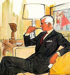 Kuppenheimer Suit - 1960 / from Roger Wilkerson, The Suburban Legend! Fashion Art, Vintage Fashion, Mens Fashion, Style Fashion, Fashion Illustration Vintage, Illustration Art, Fashion Illustrations, Vintage Advertisements, Vintage Ads