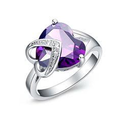 FLORAY Femme Élégant Saphir violet Bague, En forme de coeur Pierre gemme, avec Transparent clair Cubic Zirconia, Plaqué or. Boîte à bijoux bleu gratuit, Beau cadeau.: Amazon.fr: Bijoux