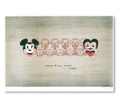 Mickey to Tiki Tu Meke. Box framed print by New Zealand artist Dick Frizzell. 26.5cm x 40cm x 4cm