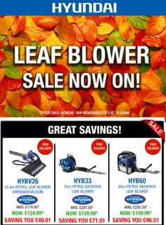 Some Mind Blowing Offers!!! #Hyundai  Leafblowers http://www.purelifestylewonders.com/diy/leaf-blowers