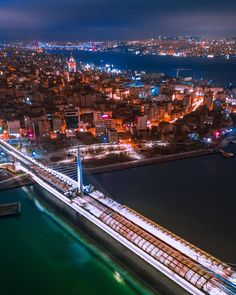 Night view of Haliç Metro Bridge and İstanbul. - I wonder. a lot. Visit Istanbul, Istanbul Travel, Wonderful Places, Beautiful Places, Visit Turkey, Blue Mosque, Dream City, Istanbul Turkey, Sydney Harbour Bridge