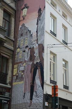 Street art by Victor Sackville, Brussels, Belgium