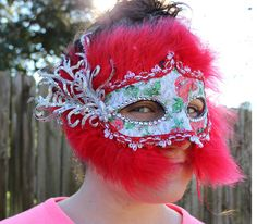 Firecracker Red Feathered Mardi Gras Mask by LaBandeauxBowtique