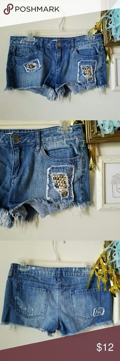 Selling this Studded denim shorts on Poshmark! My username is: amypnp. #shopmycloset #poshmark #fashion #shopping #style #forsale #Forever 21 #Pants