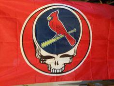 Steal your face Cardinals Flag Grateful Dead 3ftX5ft Lot Flag St Louis Tour Gear #cards #gratefuldead #flag #stlouis