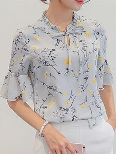 Harajuku New Women Summer Blouses Fashion Foral Print Shirt Leisure Plus Size Ruffles Sleeve Slim Bodycon Chiffon Blouse Tops Casual Tops For Women, Blouses For Women, Chiffon Shirt, Chiffon Tops, Ruffle Blouse, Summer Blouses, Summer Tops, Collars For Women, Bodycon