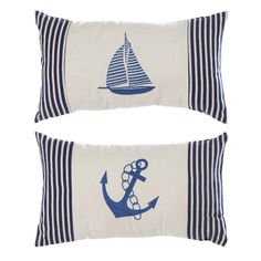 Striped Lumbar Pillows, Set of 2 for $21.99 - Flash Sale on our Seaside Collection! Lots of nautical items!  I can almost smell the ocean!