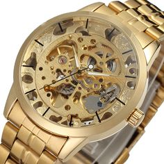 >> Click to Buy << Luxury Men's Gold Full Steel Transparent Watch Skeleton Automatic Mechanical watches Steampunk Clock men Relogio Masculino 2016 #Affiliate
