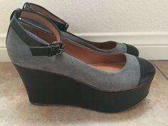 8b602339f Anthropologie Leifsdottir Women s Suede Gray and Black Platform Heels Size  7  Anthropologie  PlatformsWedges