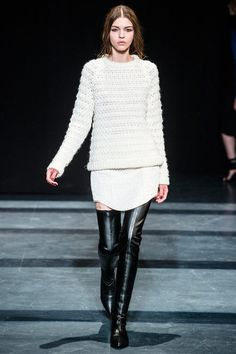 love the shirt hem on this skirt  black and white  Tibi Fall 2013 Ready-to-Wear Collection Slideshow on Style.com