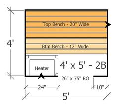 Sauna Layout with 2 Benches - Best Use of Space in this Home Sauna Plan Diy Sauna, Sauna Steam Room, Sauna Room, Indoor Sauna, Portable Sauna, Sauna Design, Building Layout, Room Planning, Maine House