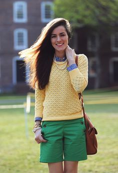 gingham shirt, textures sweater and basic bright colors