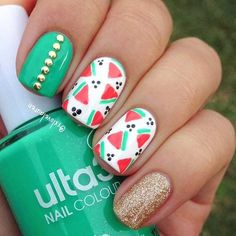 Easy, Watermelon Nail Design for Summer: