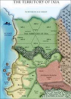 The Territory of Ixia & Sitia Map - based on the Poison Study series by Maria V Snyder. source unknown.