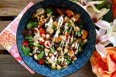 Chickpea & Sweet Potato Summer Salad <3 Find the recipe on my blog! #vegan #glutenfree #summer #salad #healthy #clean #dairyfree #recipe #theaccommodatingchef #chickpea #light #sweetpotato
