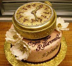 Retirement Cake- but I love that clock! Retirement Party Cakes, Retirement Ideas, Retirement Countdown, Retirement Wishes, Teacher Retirement, Beautiful Cakes, Amazing Cakes, Cakes For Women, Dream Cake