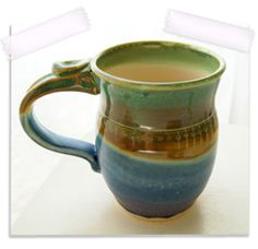 "coffee on the patio with a ""happy mug"" =)"