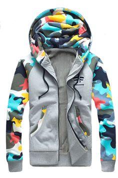 Camouflage Splicing Zip Up Flocking Hoodie Hoodie Sweatshirts, Mens Zip Up Hoodies, Warm Hoodies, Mode Camouflage, Camouflage Hoodies, Camo Hoodie, Cotton Jacket, Camo Print, Sweater Jacket
