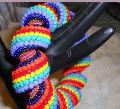 Carnival Candy Swirl Bangle Beadwoven Bracelet by cigarboxbeads, $195.00