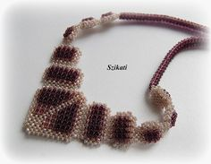 Beige/Eggplant Necklace Statement Beadwork Necklace by Szikati