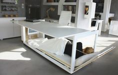 For those working long nights or have frequent overnight guests. Table coverts to a bed. #livingroom #bedroom #geek
