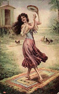 Gypsy Girl Dancing on Rug, Playing Tambourine. Original Vintage Postcard