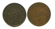 "Lot of 2 1855 Canada ""Prince Edward's Island"" Tokens: and ¦ The Stamp & Coin Place Prince Edward, Coins, Canada, Stamp, Island, Coining, Stamps, Islands"