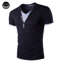 ff2041548aaffc Nouveau Mode Hommes 2016 À Manches Courtes Marque T-shirt Col V Hommes T-