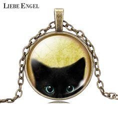 LIEBE ENGEL Unique Necklace Glass Cabochon Silver Bronze Chain Necklace Black Cat Picture Vintage Pendant Necklace For Women *** Find similar products by clicking the VISIT button