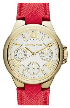 Michael Kors 'Camille' Multifunction Leather Strap Watch  http://rstyle.me/n/d5ik6nyg6