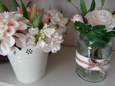 Blush and Ivory pail and natural rose arrangement