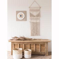 2 Körbe aus Weide und weißer Baumwolle | Maisons du Monde