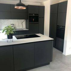 Grey Kitchen Designs, Kitchen Cupboard Designs, Kitchen Room Design, Modern Kitchen Cabinets, Modern Kitchen Design, Home Decor Kitchen, Kitchen Interior, Kitchen Diner Extension, Open Plan Kitchen
