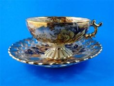 Pedestal Yellow Rose Luster Reticulated Castle Japan Tea Cup and Saucer Set